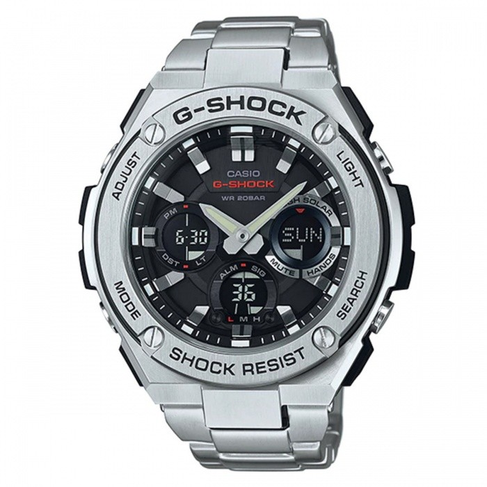 Casio G-Shock GST-S110D-1A Quartz Resin and Stainless Steel Casual Watch - Silver + BlackSport Watches<br>ColorSilver+BlackModelGST-S110D-1AQuantity1 pieceShade Of ColorBlackCasing MaterialResin and Stainless steelWristband MaterialStainless SteelSuitable forAdultsGenderMenStyleWrist WatchTypeCasual watchesDisplayAnalog + DigitalMovementQuartzDisplay Format12/24 hour time formatWater ResistantOthers,200-meter water resistanceDial Diameter5.91 cmDial Thickness1.61 cmWristband Length22 cmBand Width2.2 cmBatterySolar poweredPacking List1 x GST-S110D-1A<br>