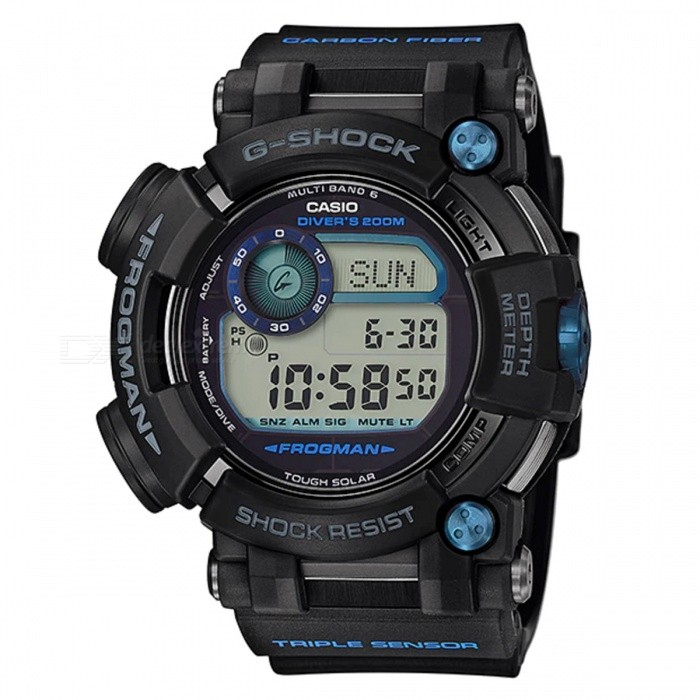 Casio G-Shock GWF-D1000B-1 Frogman Diving Watch - Black + BlueSport Watches<br>ColorBlack + BlueModelGWF-D1000B-1Quantity1 pieceShade Of ColorBlackCasing MaterialStainless steelWristband MaterialCarbon fiber insert ResinSuitable forAdultsGenderUnisexStyleWrist WatchTypeCasual watchesDisplayDigitalMovementDigitalDisplay Format12/24 hour time formatWater ResistantOthers,ISO 200 meters Water ResistanceDial Diameter5.92 cmDial Thickness1.8 cmWristband Length22 cmBand Width2.2 cmBatterySolar poweredPacking List1 x GWF-D1000B-1 Watch<br>
