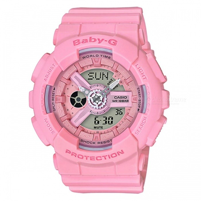 Casio BA-110-4A1 Baby-G Series Ladies Watch - PinkSport Watches<br>ColorPinkModelBA-110-4A1Quantity1 pieceShade Of ColorPinkCasing MaterialResinWristband MaterialResinSuitable forAdultsGenderWomenStyleWrist WatchTypeFashion watchesDisplayAnalog + DigitalMovementQuartzDisplay Format12/24 hour time formatWater ResistantOthers,100-meter water resistanceDial Diameter4.63 cmDial Thickness1.58 cmWristband Length22 cmBand Width2.2 cmBattery2 x SR726WPacking List1 x BA-110-4A1<br>