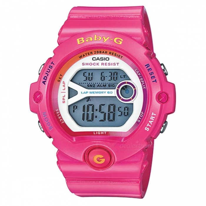 asio Baby-G BG-6903-4B For Running Series Sport Watch - PinkSport Watches<br>ColorPinkModelBG-6903-4BQuantity1 pieceShade Of ColorPinkCasing MaterialResinWristband MaterialResinSuitable forAdultsGenderUnisexStyleWrist WatchTypeCasual watchesDisplayDigitalMovementDigitalDisplay Format12/24 hour time formatWater ResistantOthers,200-meter water resistanceDial Diameter4.91 cmDial Thickness1.35 cmWristband Length22 cmBand Width2.2 cmBattery1 x CR2016Packing List1 x BG-6903-1<br>