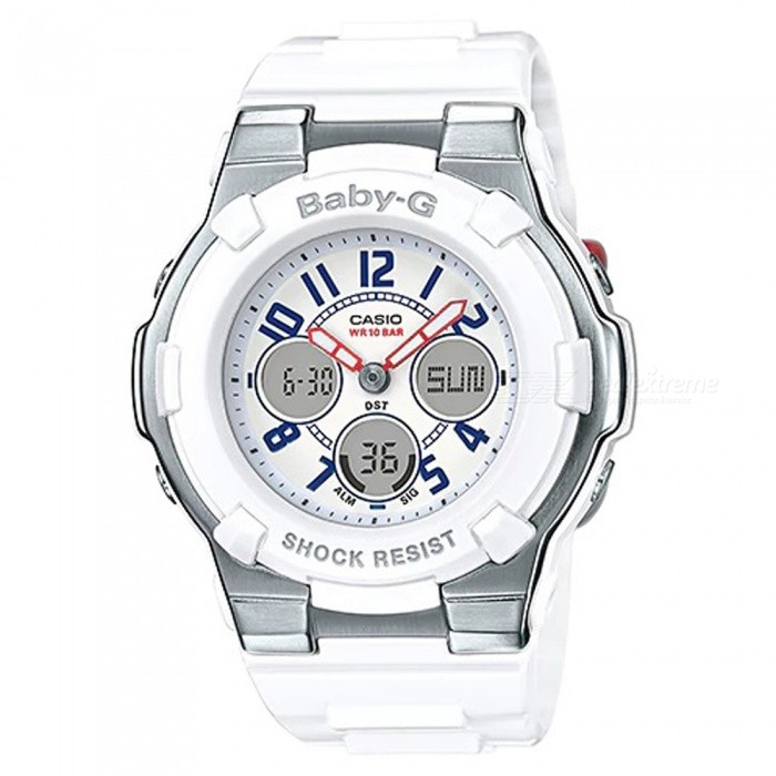 Casio BGA-110TR-7B Baby-G Analog Digital Marine Tricolor Series Watch - WhiteSport Watches<br>ColorWhiteModelBGA-110TR-7BQuantity1 pieceShade Of ColorWhiteCasing MaterialResinWristband MaterialResinSuitable forAdultsGenderUnisexStyleWrist WatchTypeFashion watchesDisplayAnalog + DigitalMovementQuartzDisplay Format12/24 hour time formatWater ResistantOthers,100-meter water resistanceDial Diameter4.42 cmDial Thickness1.29 cmWristband Length22 cmBand Width2.2 cmBattery2 x SR726WPacking List1 x BGA-110TR-7B Watch<br>