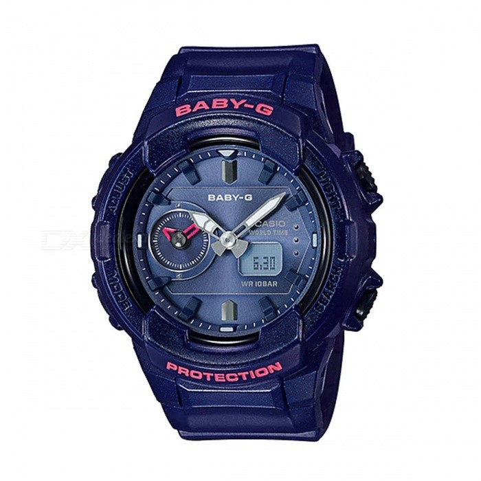 Casio Baby-G BGA-230S-2A Standard Analog Digital Watch - Navy BlueSport Watches<br>ColorNavy BlueModelBGA-230S-2AQuantity1 pieceShade Of ColorBlueCasing MaterialResinWristband MaterialResinSuitable forAdultsGenderUnisexStyleWrist WatchTypeCasual watchesDisplayAnalog + DigitalMovementQuartzDisplay Format12/24 hour time formatWater ResistantOthers,100-meter water resistanceDial Diameter4.89 cmDial Thickness1.53 cmWristband Length22 cmBand Width2.2 cmBattery2 x SR726WPacking List1 x BGA-230S-2A<br>