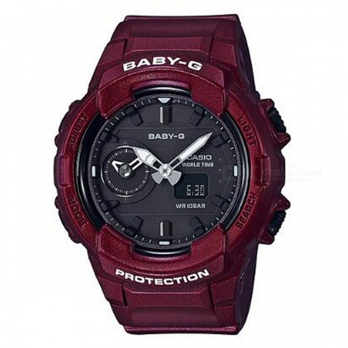 Casio Baby-G BGA-230S-4A Standard Analog Digital Watch - RedSport Watches<br>ColorRedModelBGA-230S-4AQuantity1 pieceShade Of ColorRedCasing MaterialResinWristband MaterialResinSuitable forAdultsGenderUnisexStyleWrist WatchTypeCasual watchesDisplayAnalog + DigitalMovementQuartzDisplay Format12/24 hour time formatWater ResistantOthers,100-meter water resistanceDial Diameter4.89 cmDial Thickness1.53 cmWristband Length22 cmBand Width2.2 cmBattery2 x SR726WPacking List1 x BGA-230S-4A<br>