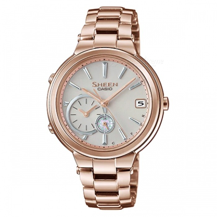 Casio SHB-200CG-9A Time Ring Series Watch - Peach GoldWomens Dress Watches<br>ColorPeach GoldModelSHB-200CG-9AQuantity1 pieceShade Of ColorGoldCasing MaterialStainless SteelWristband MaterialStainless SteelGenderWomenSuitable forAdultsStyleWrist WatchTypeFashion watchesDisplayAnalogMovementQuartzDisplay Format12 hour formatWater ResistantWater Resistant 5 ATM or 50 m. Suitable for swimming, white water rafting, non-snorkeling water related work, and fishing.Dial Diameter4.16 cmDial Thickness1.0 cmBand Width0 cmWristband Length0 cmBatterySolar poweredPacking List1 x SHB-200CG-9A<br>