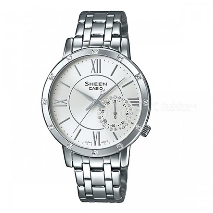 Casio SHE-3046DP-7A MULTI-HAND Watch - SilverWomens Dress Watches<br>ColorSilverModelSHE-3046DP-7AQuantity1 pieceShade Of ColorSilverCasing MaterialStainless SteelWristband MaterialStainless SteelGenderWomenSuitable forAdultsStyleWrist WatchTypeFashion watchesDisplayAnalogMovementQuartzDisplay Format12 hour formatWater ResistantWater Resistant 5 ATM or 50 m. Suitable for swimming, white water rafting, non-snorkeling water related work, and fishing.Dial Diameter4.09 cmDial Thickness3.4 cmBand Width0 cmWristband Length0 cmBattery1 x SR621SWPacking List1 x SHE-3046DP-7A<br>