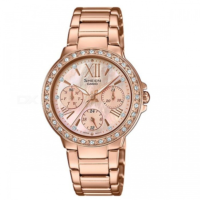 Casio SHE-3052PG-9A Mulit-Hand Watch - Pink GoldWomens Dress Watches<br>ColorPink GoldModelSHE-3052PG-9AQuantity1 pieceShade Of ColorGoldCasing MaterialStainless steelWristband MaterialStainless steelGenderWomenSuitable forAdultsStyleWrist WatchTypeFashion watchesDisplayAnalogMovementQuartzDisplay Format12 hour formatWater ResistantWater Resistant 5 ATM or 50 m. Suitable for swimming, white water rafting, non-snorkeling water related work, and fishing.Dial Diameter3.85 cmDial Thickness3.32 cmBand Width0 cmWristband Length0 cmBattery1 x SR920SWPacking List1 x SHE-3052PG-9A<br>