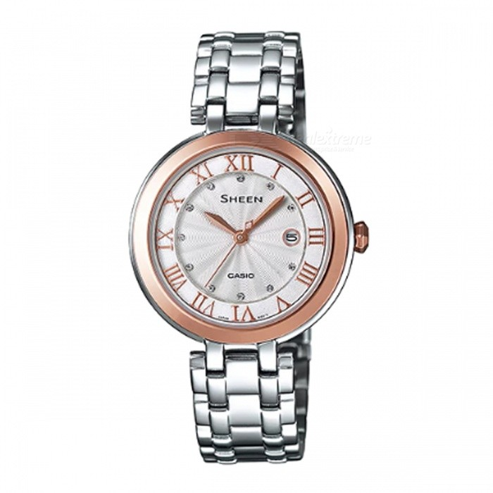 Casio SHE-4033SG-7A 3-Hand Analog Watch - Silver + Pink GoldWomens Dress Watches<br>ColorSilver + Rose GoldModelSHE-4033SG-7AQuantity1 pieceShade Of ColorSilverCasing MaterialStainless SteelWristband MaterialStainless SteelGenderWomenSuitable forAdultsStyleWrist WatchTypeFashion watchesDisplayAnalogMovementQuartzDisplay Format12 hour formatWater ResistantWater Resistant 5 ATM or 50 m. Suitable for swimming, white water rafting, non-snorkeling water related work, and fishing.Dial Diameter3.65 cmDial Thickness0.71 cmBand Width0 cmWristband Length0 cmBattery1 x SR621SWPacking List1 x SHE-4033SG-7A<br>