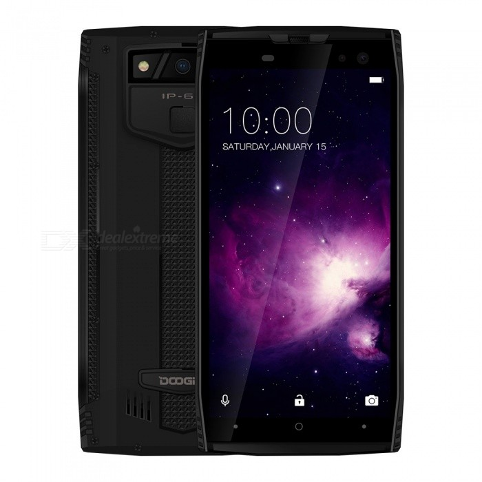 DOOGEE S50 Full Screen IP68 Waterproof 4G Phone w/ 6GB RAM, 128GB ROM - BlackSpecial Phones<br>ColorBlackRAM6GBROM128GBBrandDoogeeModelS50MaterialMetal + PlasticQuantity1 setShade Of ColorBlackNetwork Type2G,3G,4GCellularWCDMA,CDMA2000,GSM,FDD-LTE,TD-LTE,TDD-LTEBand Details2G: GSM 850/900/1800/1900MHz; 3G: WCDMA 900/2100MHz; 4G: FDD-LTE Band 1/3/7/8/20(B1:2100, B3:1800, B7:2600, B8:900, B20:800MHz)Data TransferGPRS,HSDPA,EDGEGPSYesWi-FiWi-Fi 802.11 a,b,g,nSIM Card TypeMicro SIMSIM Card Quantity2Network StandbyDual Network StandbyWLAN Wi-Fi 802.11 a,b,g,nNFCNoOSAndroidOperating SystemOthers,Android 7.1Firmware VersionAndroid 7.1CPU Core QuantityOthers,Octa-CoreCPU ProcessorHelio P23     2.5GHzLanguageAfrikaans / Indonesian / Malay / Czech / Danish / Germany(German) / Germany (Austria) / English(United Kingdom) / English(United States) / Spanish(Espana) / Spanish(Estados Unidos) / Filipino / French / Croatian / Zulu / Italian / Swahili / Latviesu / Lithuanian / Hungarian / Dutch / Norsk bokmal / Polish / Portuguese(Brasil) / Portuguese(Portugal) / Romanian / Rumantsch / Slovak / Slovenscina / Finnish / Swedish / Vietnamese / Turkish / Russian / Greek / Hebrew / Arabic / Hindi / Thai / Korean / Simplified Chinese / Traditional ChineseTime of Release2018-03-28GPUMali-G71 MP2Available Memory113GBMemory CardTF CardMax. Expansion Supported256GBScreen Size ( inches)5.7Size Range5.5 inches &amp; OverTouch Screen TypeCapacitive ScreenScreen Resolution1440*720Multitouch5Auto FocusSupportFlashYesTouch FocusYesFront Camera Pixels16.0 + 8.0 MPCamera PixelOthers,(16.0MP+13.0MP) Dual rear cameraBattery Capacity5180 mAhPower AdapterEU PlugTalk Time900 minutesStandby Time400 hoursBattery ModeNon-removableBluetooth VersionBluetooth V4.0Waterproof LevelOthers,IP68SensorG-sensor,Proximity,Compass,Fingerprint authentication sensor,Others,Ambient light senor, Geomagnetism, GyroscopeI/O InterfaceMicro USB,3.5mm,OTGSoftwarePlay Store, E-mail, Gmail, Calculator, File manager, Clock, Calendar