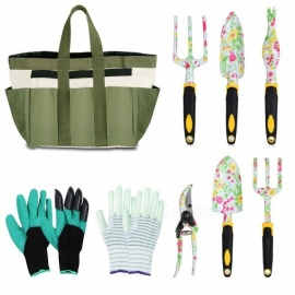 Eslibai Garden Tools Set,Aluminum Alloy Heavy Duty Hand Gardening Kit with Soft Gloves, a Garden Tote and 6 pcs Garden Tools wit