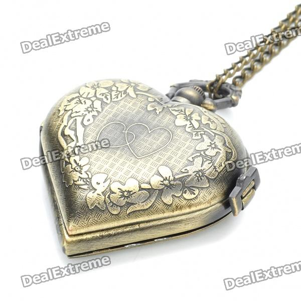 Buy Vintage Heart Shaped Water Resistant Pocket Watch with Long Chains - Antique Brass (1 x 377) with Litecoins with Free Shipping on Gipsybee.com