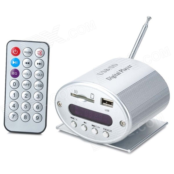 """Mini 1.6"""" LED Display MP3 Music Player with FM/Remote Control/SD/USB/3.5mm Audio Jack - Silver (12V)"""