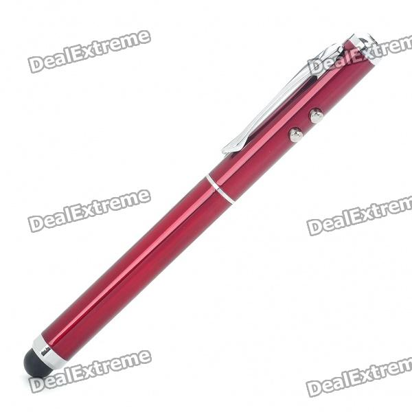 3-in-1 Capacitive Stylus Pen + Red Laser Pointer + White LED Flashlight - Red (3 x AG3)