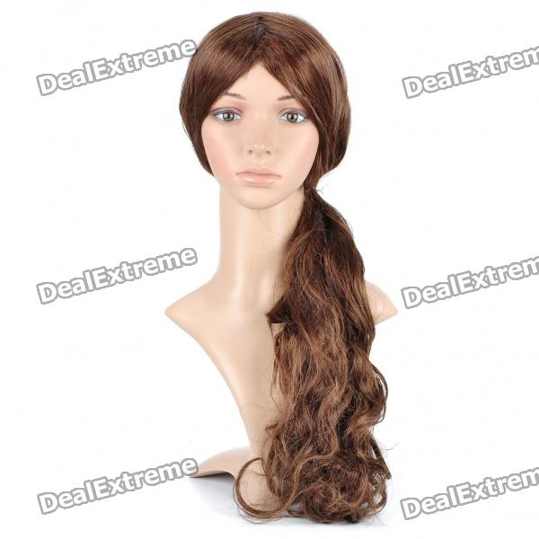 Buy Fashion Long Curly Hair Wigs - Brown with Litecoins with Free Shipping on Gipsybee.com