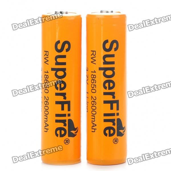 "SuperFire 18650 3.7V ""2600mAh"" Batteries with Protection Board (2PCS)"