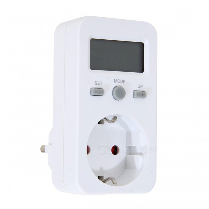 EU Plug Power Energy Meter Monitor Outlet SocketPlugs &amp; Sockets<br>Form  ColorWhiteModelN/AQuantity1 DX.PCM.Model.AttributeModel.UnitMaterialABSFireproof MaterialYesRate Voltage230VRated Current16 DX.PCM.Model.AttributeModel.UnitRated Power3680 DX.PCM.Model.AttributeModel.UnitCompatible PlugEU Plug (2-Round-Pin Plug)GroundingNoWith Switch ControlOthers,N/ASurge Protection FunctionOthers,N/ALightning Protection FunctionOthers,N/AWith FuseOthers,N/APower AdapterEU PlugPacking List1 x Digtal Energy Meter Socket 1 x Instruction Manual (English)<br>