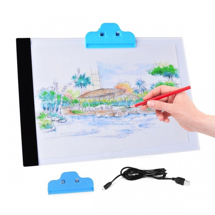 Thin A4 LED Art Stencil Drawing Table Board Digital Tablet - WhiteOther Accessories<br>Form  ColorWhiteQuantity1 pieceMaterialAcrylicOther FeaturesN/APacking List1 x LED drawing display board1 x Clip1 x Clean cloth1 x USB cable1 x User manual<br>