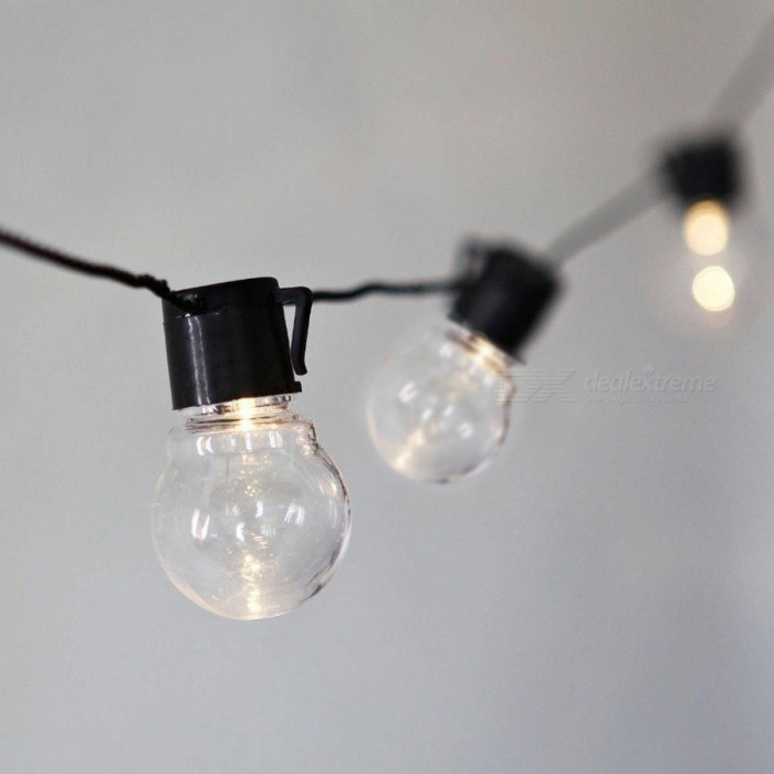 20-LED G45 Globe Connectable Ball String Lamp - Warm White Light(110V)LED String<br>Form  ColorBlack(Warm White)Color BINWarm WhiteMaterialPlastic+GlassQuantity1 setPower6WRated VoltageOthers,110 VEmitter TypeLEDTotal Emitters20WavelengthN/AActual LumensN/A lumensPower AdapterUS Plug(110V)CertificationCE, RoHS, CCCLength20-LEDPacking List1 x LED string lamp<br>