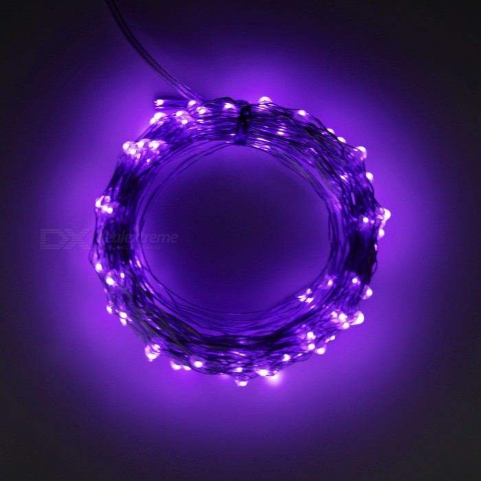 5W 33Ft 10M 100-LED Battery Operated LED String Light - Purple LightLED String<br>Form  ColorWhite + TranslucentColor BINPurpleMaterialCopper wire &amp; PVCQuantity1 setPower5WRated VoltageOthers,4.5 VEmitter TypeLEDTotal Emitters100WavelengthN/AActual LumensN/A lumensPower AdapterOthers,3 x AA batteries(not included)Packing List1 x 10M 100 LEDs Battery string light (battery not included)<br>