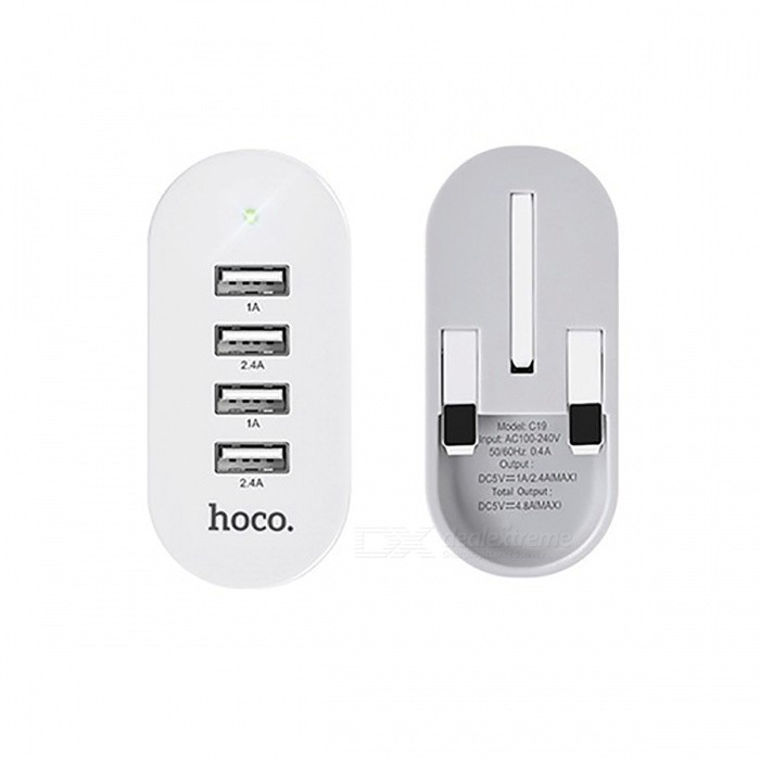 HOCO C19 5V 4.8A Universal 4 Ports USB Charger Folding - UK PlugAC Chargers<br>Form  ColorUK PlugModelC19MaterialABS+PCQuantity1 pieceCompatible ModelsMobile phones, tablet PC etc.Input Voltage5 VOutput CurrentTotal output 4.8A, USB1/3:5V/1A, USB2/4:5V/2.4A. AOutput Voltage5 VPower AdapterUK PlugLED IndicatorYesCertificationC-Tick,CE,RoHSPacking List1 x charger<br>