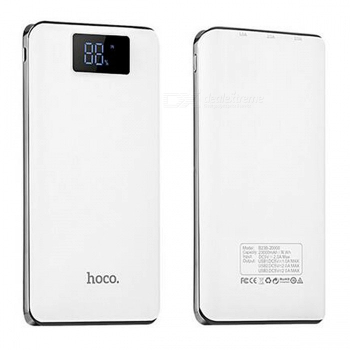 HOCO B23B 20000mAh 3-USB Power Bank with LED Digital Display - WhiteMobile Power<br>Form  ColorWhiteModelB23BQuantity1 setMaterialABS + PCShade Of ColorWhiteCompatible ModelsOthers,UniversalCompatible TypeUniversalBattery TypeOthers,18650 Lithium BatteryBuilt-in Battery Model18650Voltage5 VCapacity Range15000mAh~20000mAhNominal Capacity20000 mAhInputDC5V 2.0AOutput interface, output current, output voltage5V,1A / 2A / 2AFeaturesLED Indicator,LCD Capacity DisplayCertificationFCC,CE,RoHSPacking List1 x Power bank1 x Micro USB charging cable<br>