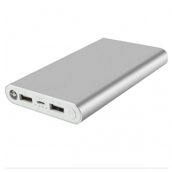 HOCO Universal Portabel 8000mAh Dual USB Power Bank-silver
