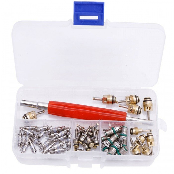 50Pcs A/C Core Valve R12/ R134A Auto Car Air Conditioning Remover KitOther Gadgets<br>Form  Color50PcsModel-Quantity1 setMaterialCopper &amp; brassShade Of ColorSilverPacking List5 x For Big Buick5 x For Small Buick10 x For Commonly Used Cars10 x For Baolai20 x For Renault<br>