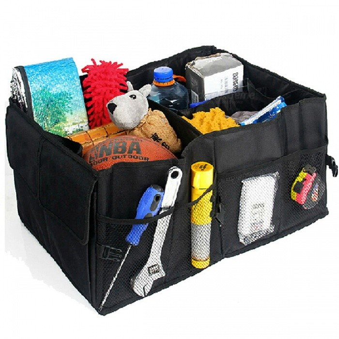 Car Back Folding Storage Box, Multi-Use Tool Organizer - BlackCar Holders and Organizer<br>Form  ColorBlackModelN/AQuantity1 pieceMaterialOxford fabricShade Of ColorBlackTypeBagUsing WayFolding TypeMax. Load10 kgPacking List1 x Auto Supplies Car Back Folding Storage Box<br>