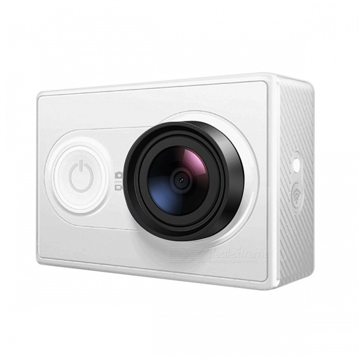 International Version Xiaomi Yi XiaoYi 1080P Action Camera - WhiteSport Cameras<br>Form  ColorWhiteShade Of ColorWhiteMaterialPlasticQuantity1 setImage SensorCMOSImage Sensor SizeOthers,1/2.3 inchesAnti-ShakeYesFocal Distance2.73±5% mmFocusing RangeN/AApertureF2.8Wide Angle155°Effective Pixels16 MPImagesJPEGStill Image Resolution4608X3456VideoMP4Video Resolution1080p@60fps,1080p@48fps, 1080p@30fps,1080p@24fps 960@60fps, 960@48fps,720p@120fps,720p@60fps, 720p@48fps, 480p@240fpsVideo Frame Rate30,60Cycle RecordYesISONoExposure CompensationNoSupports Card TypeTFSupports Max. Capacity64 GBBuilt-in Memory / RAMNoOutput InterfaceMicro USBLCD ScreenNoBattery Measured Capacity 990 mAhNominal Capacity990 mAhBattery TypeLi-ion batteryBattery included or notYesBattery Quantity1 pieceVoltage3.7 VWater ResistantNOSupported LanguagesEnglishPacking List1 x Xiaoyi Yi Sports Camera1 x Battery1 x USB Cable<br>