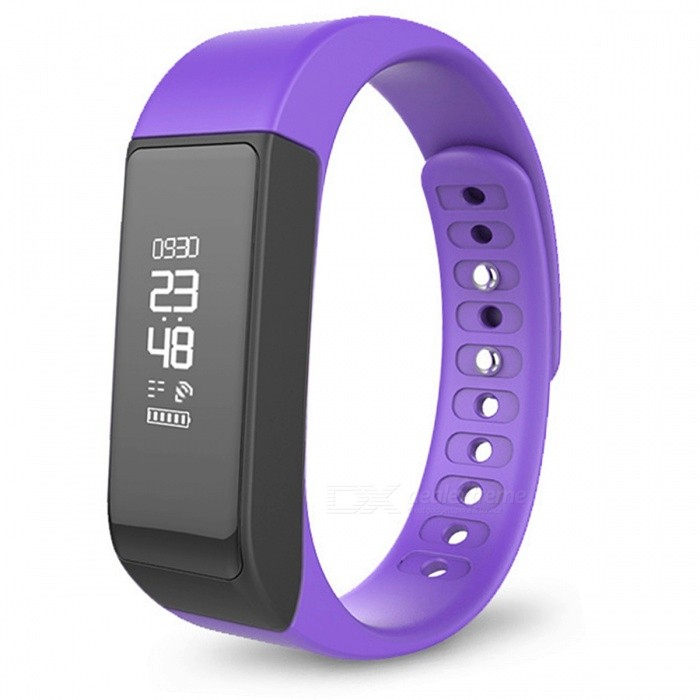 Original Iwown i5 Plus IP65 Waterproof Smart Bracelet - PurpleSmart Bracelets<br>Form  ColorPurpleModelI5 PlusQuantity1 pieceMaterialPlasticShade Of ColorPurpleWater-proofIP65Bluetooth VersionBluetooth V3.0Touch Screen TypeOthers,OLEDCompatible OSAndroid 4.3 and above, IOS 8.0 and above, with Bluetooth 4.0Battery Capacity75 mAhBattery TypeLi-ion batteryStandby Time5~7 daysPacking List1 x Smart Wristband1 x English Manual<br>