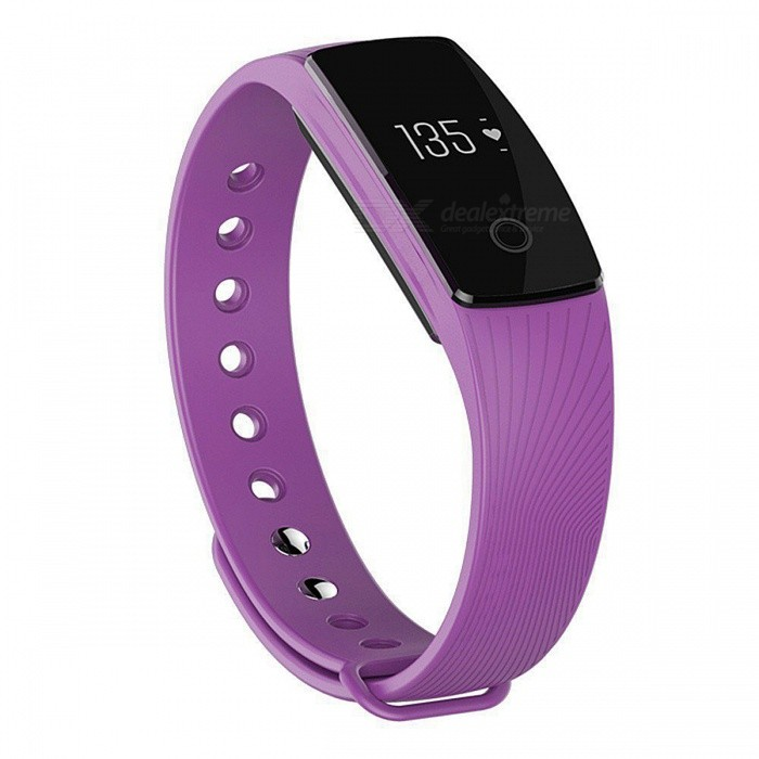 ID107 Bluetooth 4.0 Smart Bracelet with Heart Rate Monitor - PurpleSmart Bracelets<br>Form  ColorPurpleModelID107Quantity1 pieceMaterialPlasticShade Of ColorPurpleWater-proofOthers,Life-level waterproofBluetooth VersionBluetooth V4.0Touch Screen TypeOthers,OLEDCompatible OSAndroid 4.4 / iOS 7.1 and above systemBattery Capacity60 mAhBattery TypeLi-ion batteryStandby Time7 daysPacking List1 x Smart Bracelet1 x Charging Cable1 x User Manual<br>