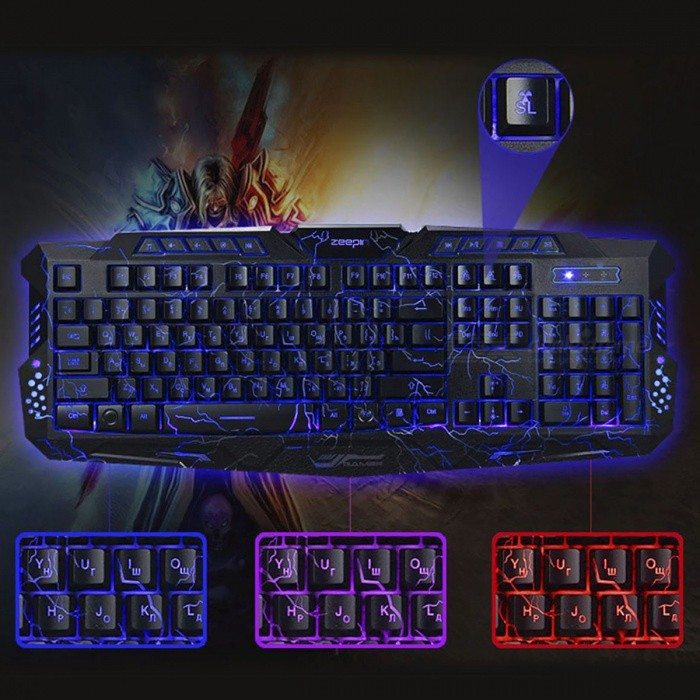 cf758155556 M200 Russian Version Backlight LED USB Wired Pro Gaming Keyboard ...