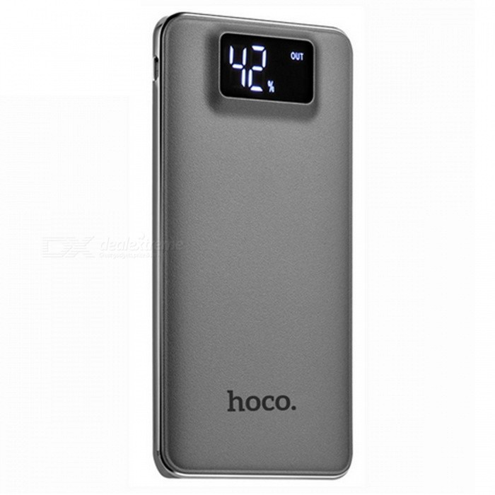 HOCO V130 10000mAh Dual USB Power Bank with LCD Display - GrayMobile Power<br>Form  ColorGreyModelV130Quantity1 setMaterialABSShade Of ColorGrayCompatible ModelsOthers,UniversalCompatible TypeUniversalBattery TypeLi-polymer batteryBuilt-in Battery ModelOthers,Li-polymer  batteryVoltage5 VCapacity Range9001mAh~10000mAhNominal Capacity10000 mAhBattery Measured Capacity N/A mAhInputDC 5V / 1.5A ( max )Output interface, output current, output voltageDC 5V / 1A, 2.1A ( max )Charging TimeN/A hourWorking TimeN/A hourFeaturesLED Indicator,LCD Capacity DisplayCertificationFCC,RoHS,CEPacking List1 x Power Bank1 x USB cable<br>