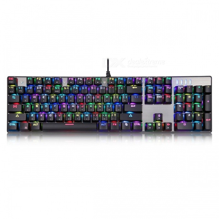 Motospeed CK104 RGB Backlit Mechanical USB Red Switch Gaming KeyboardGaming Keyboards<br>Form  ColorSilver(Red Switch)ModelInflictor CK104MaterialAluminium alloy + ABSQuantity1 pieceInterfaceUSB 2.0Wireless or WiredWiredCompatible BrandOthers,PCTracking MethodOthers,N/ABack-litYesOperation Distance165 cmKey Travel2mm to actuation, 4mm to bottommm cmAnti-ghosting Key104Multi-media Key12Powered ByUSBBattery included or notNoCharging TimeN/A hourWaterproofNoSupports SystemOthers,N/APacking List1 x Motospeed Inflictor CK104 Keyboard<br>