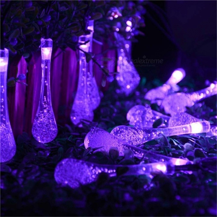Water Droplets Style Purple Light LED Solar Fairy String Light (6m)LED String<br>Form  ColorTransparent + BlackColor BINPurpleMaterialPVCQuantity1 DX.PCM.Model.AttributeModel.UnitPower6WRated VoltageOthers,N/A DX.PCM.Model.AttributeModel.UnitEmitter TypeLEDTotal Emitters30WavelengthN/AActual LumensN/A DX.PCM.Model.AttributeModel.UnitPower AdapterSolar PoweredPacking List1 x Solar Panel with stand 1 x 30-LED Solar light1 x Product specification<br>