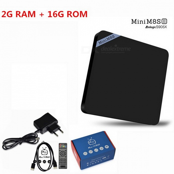 Mini M8S II Android 6.0 Quad-Core Smart TV Box - Black (EU Plug)Smart TV Players<br>Form  ColorBlackBuilt-in Memory / RAM2GBStorage16GBPower AdapterEU PlugModelMini M8S IIQuantity1 pieceMaterialPlasticShade Of ColorBlackOperating SystemAndroid 6.0ChipsetAmlogic S905XCPUOthers,Amlogic S905XProcessor FrequencyAmlogic S905XGPUMali-450Menu LanguageEnglish,Others,Multi-languageRAM/Memory TypeDDR3 SDRAMMax Extended Capacity32GBSupports Card TypeMicroSD (TF)Wi-FiIEEE 802.11b / g / nBluetooth VersionBluetooth V4.03G FunctionNoWireless Keyboard/Mouse2.4GHzAudio FormatsOthers,AAC,FLAC,MP3,MPEG,OGG,RM,WMAVideo FormatsOthers,1080P,4K,4K x 2K,AVC,AVI,DAT,H.264,H.265,ISO,MKV,MP4,MPEG-1,MPEG-4,MPEG1,MPEG2,MVC,WMVAudio CodecsOthers,AAC,FLAC,MP3,MPEG,OGG,RM,WMAVideo CodecsOthers,H.264/AVC,H.265,RealVideo8/9/10Picture FormatsOthers,BMP,GIF,JPEG,JPGSubtitle FormatsOthers,/Output Resolution4KHDMI2.0Video OutputHDMIUSBUSB 2.0Other InterfaceDC Power Port,HDMI,Micro SD Card Slot,RJ45,SPDIF,USB2.0Power Supply100-240VPacking List1 x Mini M8S II TV Box1 x IR Remote Control1 x HDMI Cable1 x Power Adapter1 x English Manual<br>