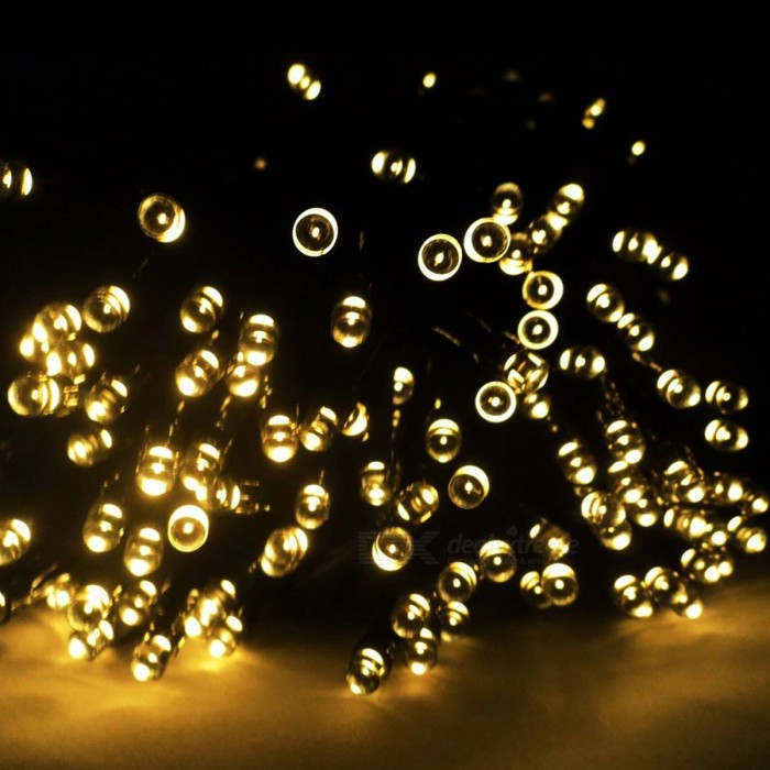 12m 100-LED Solar Powered Warm White LED Fairy String LightLED String<br>Form  ColorBlackColor BINWarm WhiteMaterialPlasticQuantity1 DX.PCM.Model.AttributeModel.UnitPower12WRated VoltageOthers,N/A DX.PCM.Model.AttributeModel.UnitEmitter TypeLEDTotal Emitters100WavelengthN/AActual Lumens100 DX.PCM.Model.AttributeModel.UnitPower AdapterSolar PoweredPacking List1 x Solar Panel1 x 100-LED Solar String Fairy Light<br>