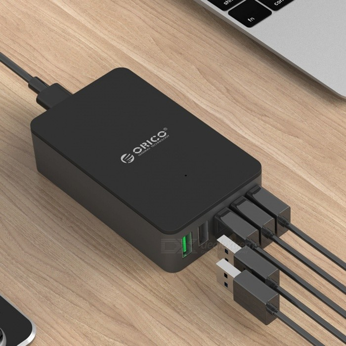 ORICO Quick Charge QC2.0 5-Port USB Charger - US PlugUSB Hubs &amp; Switches<br>Form  ColorUS PlugQuantity1 pieceMaterialPC + ABS (Fire-resistant)Shade Of ColorBlackIndicator LightYesPort Number5With Switch ControlNoInterfaceUSB 2.0,Others,QC2.0Transmission RateOthers,N/A bpsPowered ByAC ChargerSupports SystemOthers,N/APacking List1 x ORICO 5 Port USB Charger 1 x Power Cord 1 x User Manual<br>