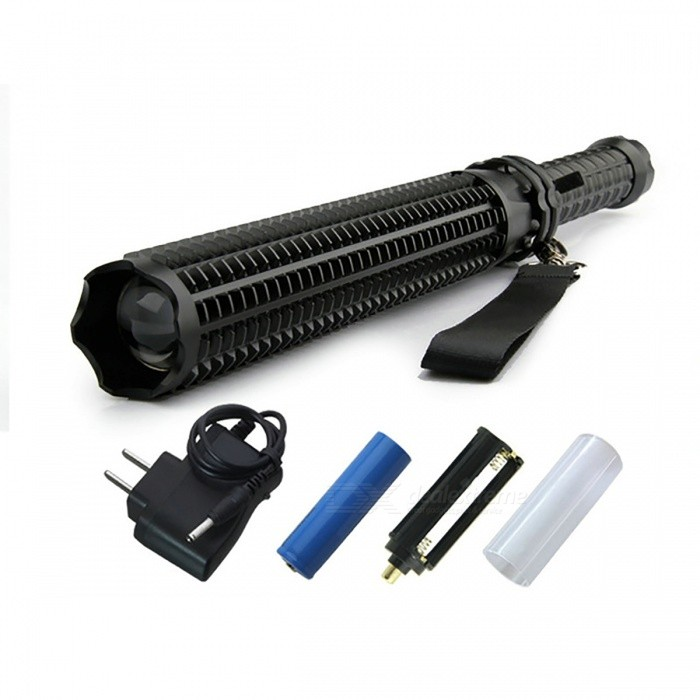 XM-L Q5 10W 5-Mode Flashlight Tactical Torch for Self-DefenseOther Flashlights<br>Form  ColorBlack (Package B)Quantity1 setMaterialAluminum AlloyNumber of Emitters1Color BINWhitePower Supply18650 or AAAVoltage3.6~4.5 VCurrent- AActual Lumens600 lumensRuntime- hourNumber of Modes5Mode ArrangementHi,Mid,Low,Slow Strobe,SOSMode MemoryNoSwitch TypeReverse clickySwitch LocationTailcapLensGlassReflectorAluminum TexturedBeam Range200-500 mStrap/ClipStrap includedEmitter BINQ5Emitter BrandCreeEmitter BINQ5LED TypeXM-LPacking List1 x Flashlight1 x Battery casing1 x Battery holder1 x Direct charger1 x 18650 Battery<br>