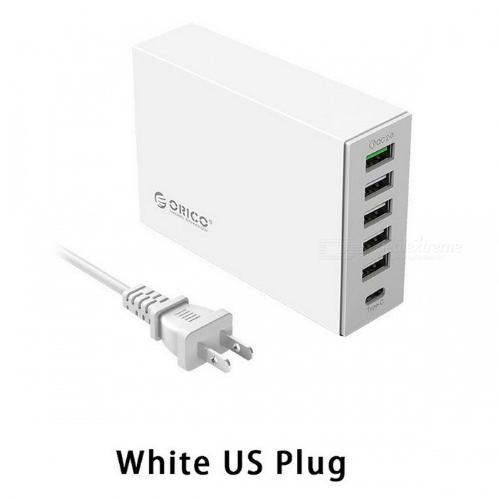 ORICO 6-Ports 5V2.4A 9V2A 12V1.5A Type-C QC2.0 Quick Charger - WhiteUSB Hubs &amp; Switches<br>Form  ColorWhite (US Plug)Quantity1 pieceMaterialPC + ABS(Fire-resistant)Shade Of ColorWhiteIndicator LightNoPort Number6With Switch ControlNoInterfaceUSB 2.0,Others,TYPE-C,QC2.0Transmission RateOthers,N/A bpsPowered ByAC ChargerSupports SystemOthers,N/APacking List1 x QC2.0+TYPE-C Charger1 x Power Cord1 x Manual<br>