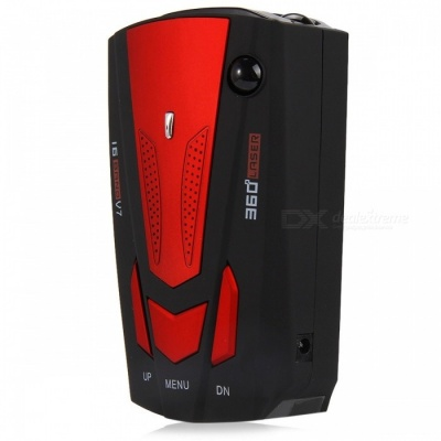 V7 Auto 360 Degree Car Radar Detector with 16 Band LED Display - Red