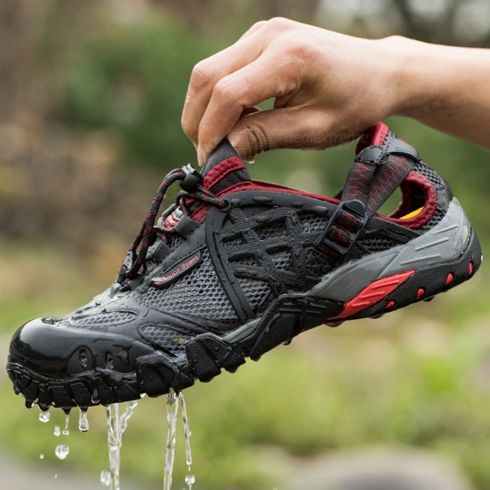 Buy Breathable Men's Hiking Shoes Sneakers - Black Red with Litecoins with Free Shipping on Gipsybee.com