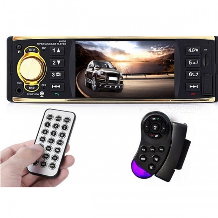 4019B 4.1 1 Din Bluetooth Car Radio Audio Stereo Player (No Camera)Audio Stereo Players<br>Form  ColorNo CameraModel-Quantity1 setMaterialPlasticDetachable PanelNoChassis Size1 DinMedia Playback SupportedOthers,MP3 / WMA / WMV / OGG / APE / ACC / FLAC / audio file formatScreen Size4.1 inchScreen Resolution800 x 480Touch Screen TypeNoBrightness ControlOthers,N/AMenu LanguageEnglish,Spanish,Portuguese,Russian,Chinese SimplifiedFM Radio87.5~108.00MHzRadio Frequency- fpsStation Preset Qty.12Support RDSYesRated Power- WPeak Power Output-Audio ModeOthers,-Audio  OutputOthers,-Audio InputOthers,-Video InputOthers,-Ports/SoltSD card,MMC card,USB driveExternal Memory Max. Support16 GBPortable HDD CompatibleNoWireless BluetoothYesPower Off Memory Function YesBuilt-in SpeakerNoSubwoofer OutputYesAnti-ShockYesRemote ControlYesRemote-controlled Distance 3 mPower Supply12 VPower15 WPacking List1 x Car MP5 Player1 x English User Manual2 x Remote Controllers2 x Cables<br>