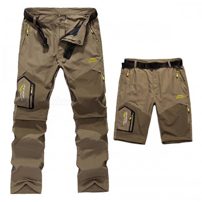 Summer Quick Dry Mens Removable Pants - KhakiForm  ColorKhaki (4XL)SizeOthersModelN/AQuantity1 pieceMaterialPolyesterShade Of ColorBrownSeasonsSpring and SummerGenderMensWaist86-94 cmHip Girth120 cmTotal Length114 cmSuitable for Height185 cmBest UseRunning,Climbing,Camping,Travel,FishingSuitable forAdultsPacking List1 x Pants<br>