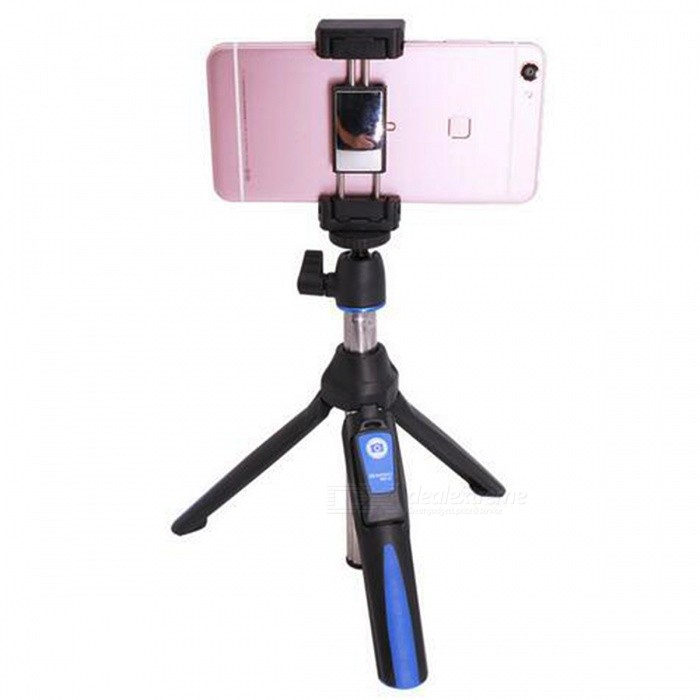 MK10 Handheld &amp; Mini Tripod 3 in 1 Self-portrait Monopod - BlueTripods and Holders<br>Form  ColorBlueModelMK10MaterialAluminumQuantity1 pieceShade Of ColorBlueTypeMonopodRetractableYesFolded Size18 cmFull Size 85 cmPacking List1 x Selfie stick1 x Phone Tripod Mount1 x Gopro adapter1 x Bluetooth control<br>