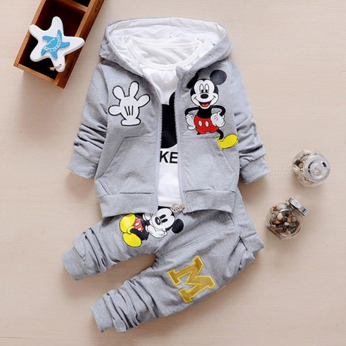 Autumn Baby Girls Boys Clothes Sets Cute Infant - Gray / 10-12 MonthsBaby Apparel<br>Form  ColorWhite + Grey + Multi-ColoredSutiable Age10-12 monthsShade Of ColorGrayMaterialCottonQuantity1 setStyleFashionHip GirthN/A cmCrotch LengthN/A cmTotal LengthN/A cmPacking List1 x Coat + T Shirt + Pants<br>