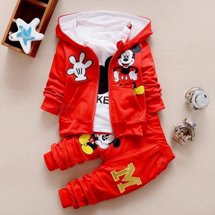 Autumn Baby Girls  Boys Clothes Sets Cute Infant - Red / 4-6 MonthsBaby Apparel<br>Form  ColorWhite + Red + Multi-ColoredSutiable Age4-6 monthsShade Of ColorWhiteMaterialCottonQuantity1 setStyleFashionHip GirthN/A cmCrotch LengthN/A cmTotal LengthN/A cmPacking List1 x Coat + T Shirt + Pants<br>