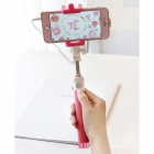Universal Mini Selfie Sticks Monopod Wired Extendable Selfie-Rosa
