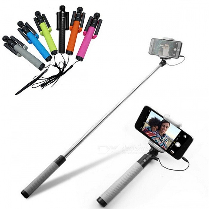 D12s Mini Portable Extendable Wired Selfie Stick Monopod - GrayTripods and Holders<br>Form  ColorGreyModelD12sMaterialPlastic and metalQuantity1 pieceShade Of ColorGrayTypeMonopodRetractableYesFolded Size18.5 cmFull Size 82 cmPacking List1 x Extendable Handheld selfie Stick For Cell Phone1 x Wrist strip (The Smartphone is not included)1 x Manual<br>