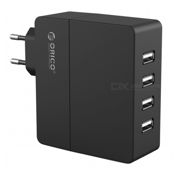 ORICO 4-Port 5V 2.4A*4 Smart Wall Charger Adapter - EU PlugUSB Hubs &amp; Switches<br>Form  ColorBlackModelDCA-4UQuantity1 pieceMaterialABSShade Of ColorBlackIndicator LightYesPort Number4With Switch ControlOthers,N/AInterfaceUSB 2.0Transmission RateOthers,N/A bpsPowered ByAC ChargerSupports SystemOthers,N/APacking List1 x ORICO 4-Port USB charger<br>