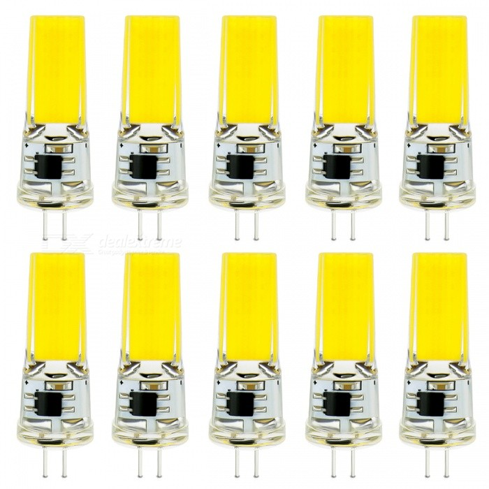 G4 9W Cold White 1505 COB LED Light Bulb - 10 PCS / 220VG4<br>Color BINCold White (9W 220V)MaterialSilicone + LEDForm  ColorTransparent + YellowQuantity10 piecesPower9WRated VoltageOthers,220 VConnector TypeG4Chip BrandEpistarChip TypeCOBEmitter TypeCOBTotal Emitters1Theoretical Lumens450 lumensActual Lumens450 lumensColor Temperature6500KDimmableNoBeam Angle360 °Packing List10 x G4 LED bulbs<br>